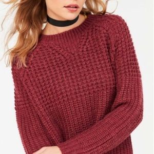 UO BDG Waffle Stitch Pink Crew Neck Sweater